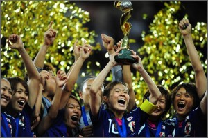 Japan?s players celebrate with the trophy after the FIFA Women's Football World Cup final match Japan vs USA on July 17, 2011 in Frankfurt am Main, western Germany. Japan won 3-1 in a penalty shoot-out after the final had finished 2-2 following extra-time. AFP PHOTO / JOHANNES EISELE (Photo credit should read JOHANNES EISELE/AFP/Getty Images)